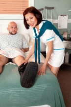 Nurse Kim heals the sick, shags the giant hard-on