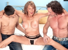 Trisha receives ass-fucked by two boys and swallows